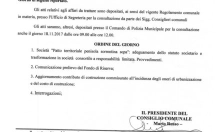 """FOTO NOTIZIA – Piano di Sorrento/ Martedì Consiglio comunale, convocato anche il """"sig. Albo Pretorio"""""""