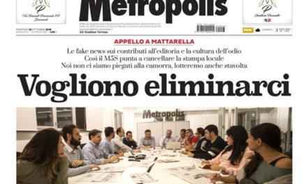 """Penisola sorrentina/ """"Vogliono eliminarci"""": il titolo choc del quotidiano Metropolis"""