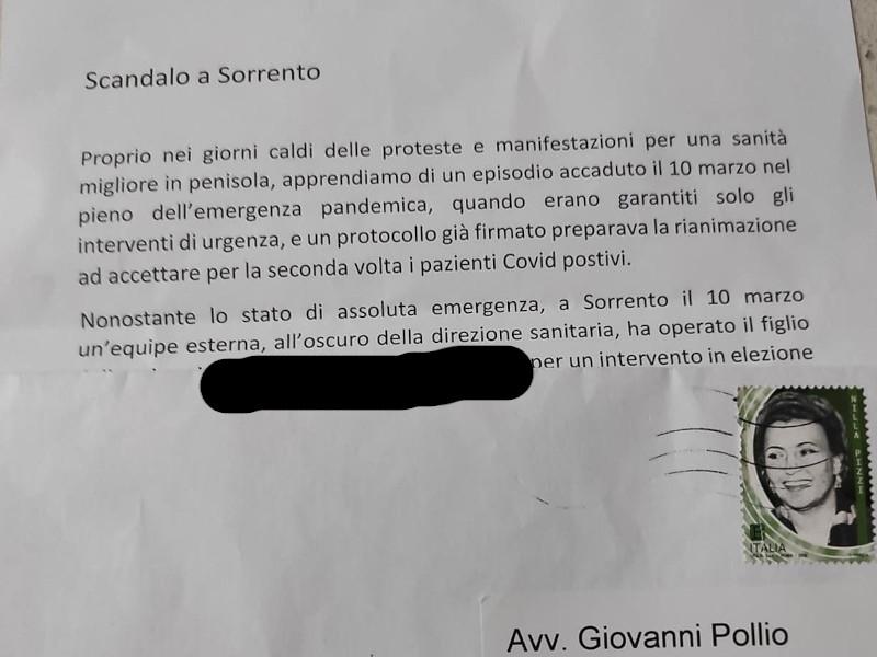 Sorrento/ E' sempre più guerra all'interno dell'Ospedale, ora spunta anche la lettera anonima di un corvo